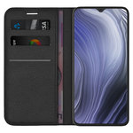 Leather Wallet Case & Card Holder Pouch for Oppo Reno Z (Black)